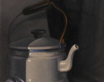 Teapot And Tea-ball_ Original Oil Painting in Wood Frame_ Still life_ Realism