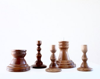 wood candlestick collection / set of 5