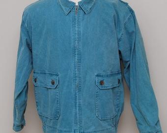 Vintage men's spruce spring jean jacket/ vint green jean jacket/ Woolrich