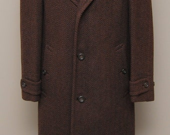 1930-40s men's brown herringbone heavy wool overcoat/ 30-40s mens herringbone overcoat/ Finchley