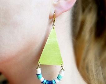 Boho Statement Earrings, Long Triangle Earrings, Large Earrings, Tropical Earrings