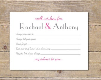 Wedding Guestbook,  Bridal Shower Activity, Bridal Shower, Well Wishes Cards, Wedding Advice Cards, Guestbook, Ampersand, Advice