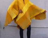 Vintage Colombian 1970's Yellow Plaid Mohair Wool Fringed South American Ethnic Blanket Ruana Poncho Cape O/S