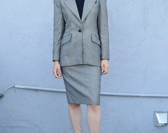 Vintage 2 pc Christian Dior 1980's Tweed Wool Tailored Blazer & High Waisted Pencil Skirt Suit Set S/M
