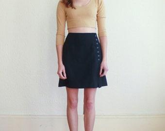 Vintage Minimalist 1990's Black High Waisted Button Side Mini Skirt XS/S
