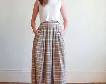Vintage Plaid High Waisted 1980's Cotton A-Line Circle Pleated Pocket Skirt S/M 26