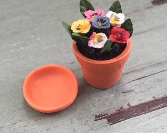 Miniature Pansies in Terracotta Flower Pot, Dollhouse Miniature, 1:12 Scale, Mini Flowers, Dollhouse Flowers, Home & Garden Decor, Accessory