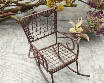 Miniature Rusty Metal Wire Rocking Chair,  2.5 Inches, Fairy Garden Accessory, Primitives, Garden Decor, Miniature Gardening