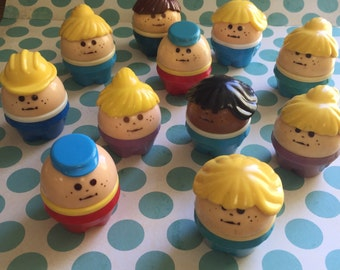 Vintage Fisher Price People 11 Pieces Cute and Chubby