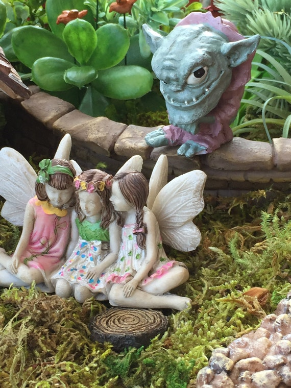 """Miniature Troll Figurine, """"Grif"""",  Garden Decor, Fairy Garden Accessory, Enchanted Garden, Cake Topper"""