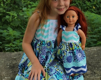 Dolly and Me blue floral knot dress, size 1-12, girls knot dress, girls spring summer sundress