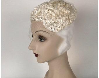 Vintage 50s, 60s Wedding Hat, Veil, White, Iridescent, Casque Style, Half Veil, Cellophane Straw, Mid Century, Vintage Wedding, Fascinator