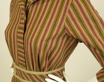 Vintage 1910s. Edwardian Womens,  Reproduction Factory Dress, Uniform, TV Costume, Cotton, Ticking Stripe, B 32 W24, Multiples , Suffragette