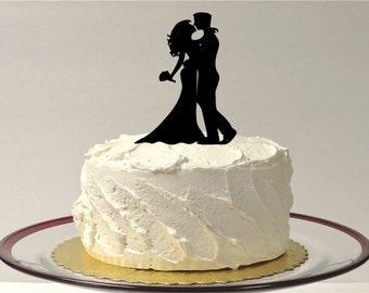 MADE In USA, Silhouette Wedding Cake Topper Hair Down Style Cake Topper Bride and Groom Silhouette Wedding Cake Topper Bride Groom Topper
