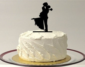 MADE In USA, Silhouette Cake Topper Bride and Groom Hair Up Silhouette Wedding Cake Topper Groom Lifting up Bride Dancing Cake Topper