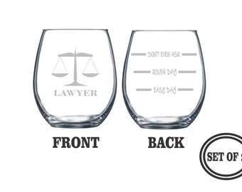 2 ETCHED LAWYER Stemless Wine Glasses SET 2 Engraved Stemless Wine Glasses Gift for Lawyer, Funny Wine Glasses Profession Gift, Cocktail