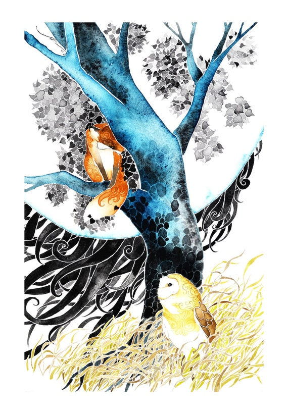 Meet Under the Moon -giclee PRINT of original watercolor painting -