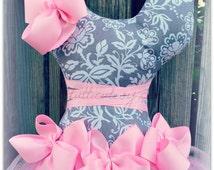 Gray and Pink Damask Tutu Hair Bow holder