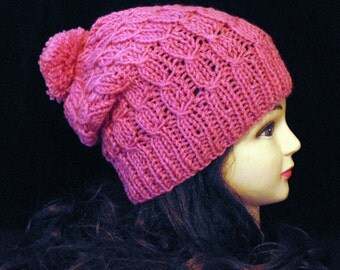 Pink Slouchy Beanie Pom Pom Knitted Hat, Winter Hat, Slouchy Beanie