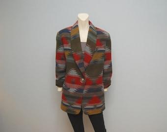 Vintage 1990's Oversized Blazer Jacket with Boho/Southwestern/Aztec Print