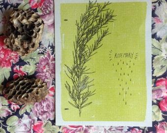 Handprinted Rosemary Tiny Print