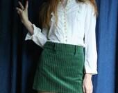 60's Mini Skirt / Green Corduroy Short Mod Skirt / Original Kids in GEAR Carnaby Street Skirt Haute Hippie Mini Skirt / Sixties Mini Skirt