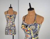 Do not buy *****RESERVED on LAYAWAY***** - 1950s CATALINA novelty print bathing suit • vintage 50s swimsuit • hawaiian bather