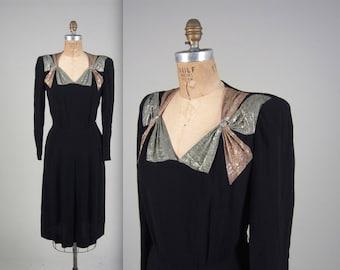 1940s double bow lurex dress • vintage 40s dress • crepe evening dress
