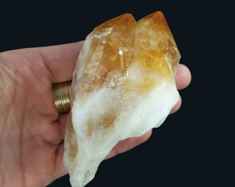 Large Rough Citrine Crystal 3 Points 4 x 2.40 x 1.70''