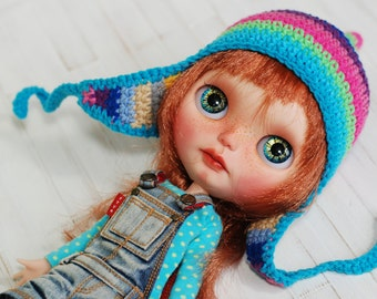 Hat Crochet for Blythe Pink Yellow Turquoise Sweet Colorful