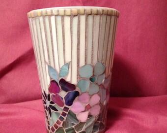 Mosaic Pot/Vase in blue, mauve, purple