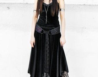 WITCHY BLACK VELVET maxi skirt - stretch velvet cotton spandex