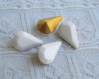 13x8 Swarovski White Pear Teardrop Shaped Rhinestone Qty 4