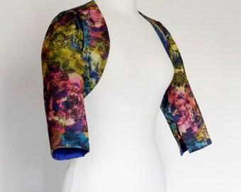 UK Size 16 - Vintage Floral Brocade Bolero Jacket - Made by Dig For Victory