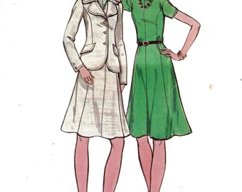 70s Vintage Sewing Pattern Butterick 6759 Princess Dress & Jacket Size 14 Bust 36 inches