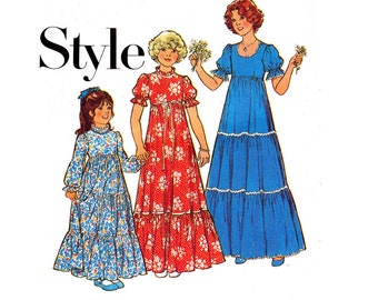 70s Girls Peasant Dress Pattern Style 2145 Tiered Gathered Dress Vintage Sewing Pattern Size 4 Chest 23 inches