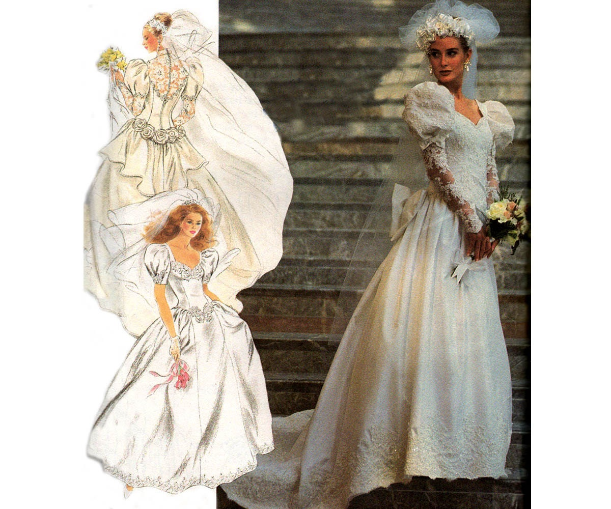 Make Your Own Wedding Dress: 90s Design Your Own Wedding Dress Pattern Simplicity 7429 Lace