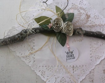 Woodland Rustic Twig Branch Hanger©. Woodland Wedding. Shabby Rustic Paper Roses. Romantic Cottage Wedding by 3VintageHearts