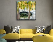 Original Landscape Painting of Mountain Pool Surrounded by Boulders and Trees