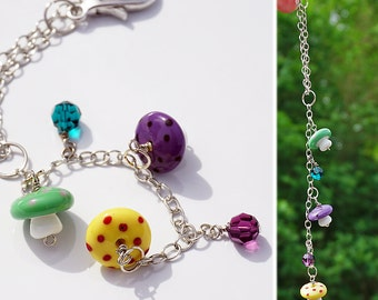 Mushrooms and Beads Car Charm for Rear View Mirror