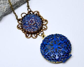 Blue Locket Necklace, Brass Scent Locket, Vintage Button Necklace, Filigree Locket, Czech Blue Glass Button, Antique Brass Chain, Gift