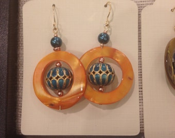 Bright Orange and Teal Circle Shell Earrings