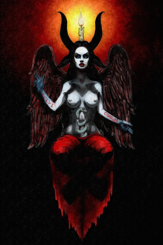 Lady Baphomet Occult stretched canvas print