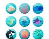 Hand Painted Knob - Children's Custom Hand Painted Marine Sea Life Critters Ocean Animal Drawer Knobs Pulls or Nail Covers for Kids