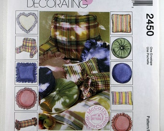 McCall's 2450, Pillows Sewing Pattern, Decorative Pillows Sewing Pattern, Uncut