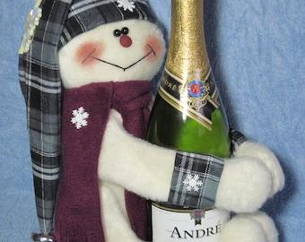 Snowman Wine Hugger - Black & Plum