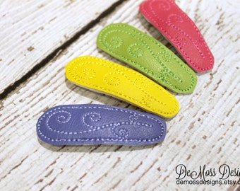 Spring Snap Clips, Embroidered Vinyl, Blue Yellow Pink Lime, Set of 4