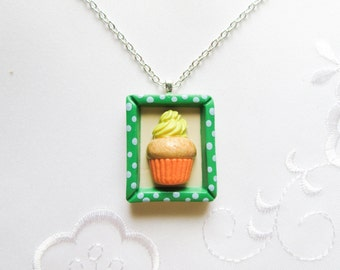 Framed Cupcake Necklace, Cupcake, Cute Necklace, Kawaii, Sweet Lolita, Food Necklace, Frame Necklace, Polymer Clay, Polka Dot