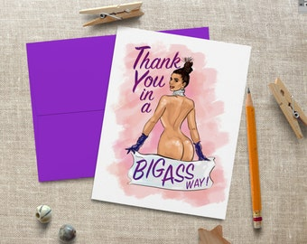 Kim Kardashian Big Butt Humor Thank You Greeting Card