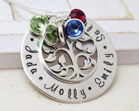 Family Tree Necklace For Mom, Grandmothers Necklace, Personalized Family Tree Necklace, Birthstone Necklace, Birthstone Necklace For Mom